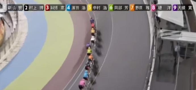 立川競輪誤打鐘事件のレース風景