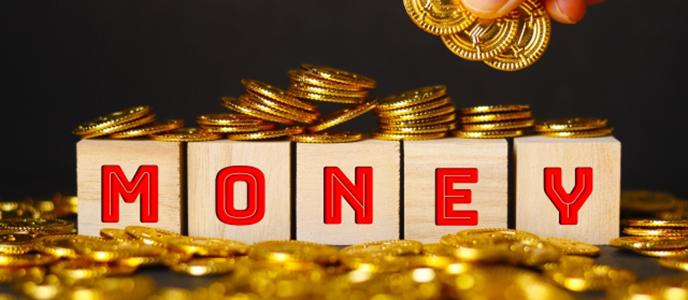 MONEYと書かれたオブジェクトと金貨